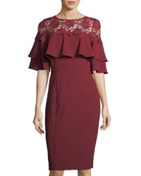 Tahari By Arthur S. Levine Lace Yoke Ruffled Crepe Dress Black