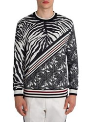 Dolce And Gabbana Animale Mixed Printed Pullover Black White Print