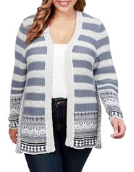 Lucky Brand Plus Geo Border Open Front Cardigan Blue