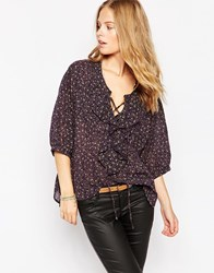 Denim And Supply Ralph Lauren Denim And Supply By Ralph Lauren Long Sleeve Ruffled Poet Blouse Tumbledfloral