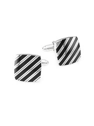 Saks Fifth Avenue Striped Square Cufflinks Silver