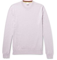 Paul Smith Melange Cashmere Cotton And Wool Blend Sweater Lilac