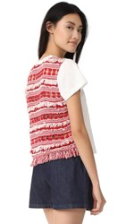 Sea Fringe Back Tee Red Cream