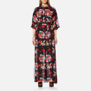 Kenzo Women's Antonio Flower Silk Maxi Dress Vermillion Orange