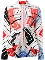Capucci Ruffled Printed Cropped Jacket White