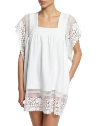 Miguelina Destiny Crocheted Lace Coverup Dress Women's Pure White