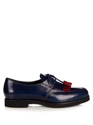 Tod's Gomma Fringed Lace Up Shoes Navy Multi
