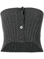 Ports 1961 Strapless Knitted Top Grey