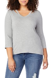 Rebel Wilson X Angels Plus Size Slash Neck Tee Light Heather Grey
