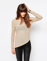 Only Jumper With Asymmetric Hem Warm Taupe Beige
