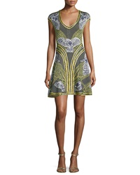 Herve Leger Long Sleeve Short Jacquard Dress Classic Blue Combo