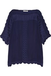 Etoile Isabel Marant Axel Embroidered Georgette Top Storm Blue