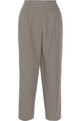 Dolce And Gabbana Cotton And Linen Blend Straight Leg Pants Gray