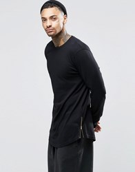 Asos Relaxed Longline Long Sleeve T Shirt With Curve Hem And Hem Zips In Black Black