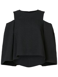 Monique Lhuillier Cold Shoulder Blouse Black