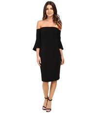 Laundry By Shelli Segal Montreal Stretch Crepe Off The Shoulder Cocktail Black Women's Clothing