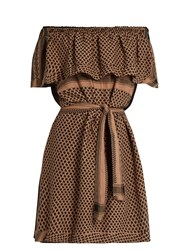 Cecilie Copenhagen Off The Shoulder Ruffled Cotton Dress Light Brown
