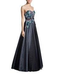 Basix Black Label Strapless Lace Ball Gown Teal Multi