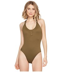 Polo Ralph Lauren Military Cargo Henley Mio Safari Olive Women's Swimsuits One Piece Yellow