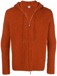 Eleventy Zipped Knit Hoodie Yellow And Orange