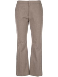 Adeam Stripe Detail Tailored Trousers Brown