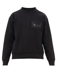 Aries Temple Crew Neck Cotton Sweatshirt Black