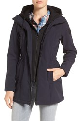 Vince Camuto Women's Hooded Bib Inset Soft Shell Jacket Navy