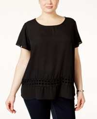 Ing Plus Size Short Sleeve Crochet Top Black