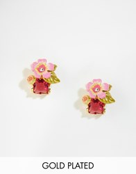 Les Nereides Floral Jewel Stud Earrings Multi