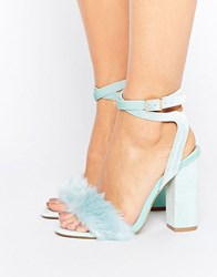 Truffle Collection Blue Fur Velvet Heel Sandal Mint Green