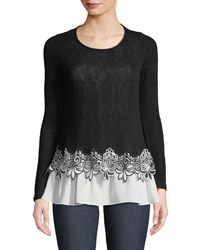Casual Couture Lace Hem Twofer Sweater Black White