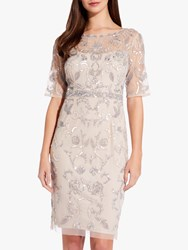 Adrianna Papell Embellished Overlay Dress Natural