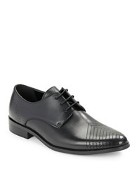 Kenneth Cole Reaction Last Laugh Perforated Toe Leather Derby Shoes Black