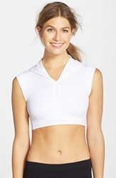 Women's Solow Double Face Knit Crop Hoodie White