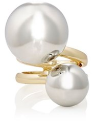 Kenneth Jay Lane Women's Double Sphere Cage Ring Gold