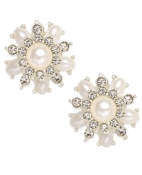 Charter Club Silver Tone Imitation Pearl Cluster Clip On Earrings