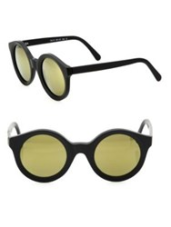 Kyme Isa1 51Mm Round Mirrored Sunglasses Black Gold