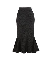 Dolce And Gabbana Jacquard Trumpet Skirt Black