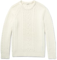 Club Monaco Cable Knit Merino Wool Sweater Cream