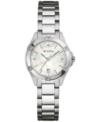 Bulova Women's Diamond Accent Stainless Steel Bracelet Watch 27Mm 96R205