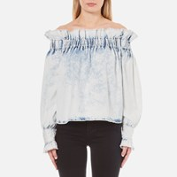 Msgm Women's Ruffles Top Bleached Denim Blue