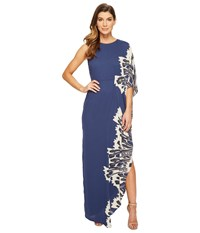 Halston One Sleeve Boat Neck Printed Gown Dark Navy Crocus Border Print Women's Dress