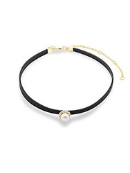 Cz By Kenneth Jay Lane Faux Pearl And Faux Leather Choker Gold