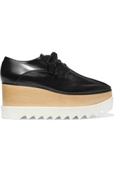 Stella Mccartney Elyse Faux Glossed Leather Platform Brogues Black