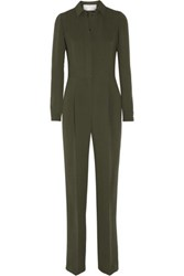 Valentino Silk And Wool Blend Jumpsuit Army Green
