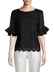Nanette Nanette Lepore Frill Sleeve Floral Lace Top Very Black