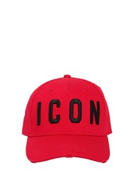 Dsquared Icon Cotton Gabardine Baseball Hat Red Black