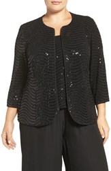 Alex Evenings Plus Size Women's Sequin Three Quarter Sleeve Twinset Black