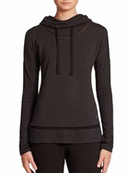 Alo Yoga Hail Hooded Long Sleeve Stretch Pullover Charcoal Heather Black