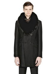 Lords And Fools Wool Blend Coat With Fox Fur Collar Black